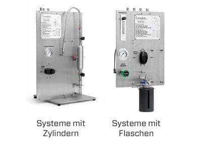 Probenahme-Systeme mit Zylindern und Flaschen